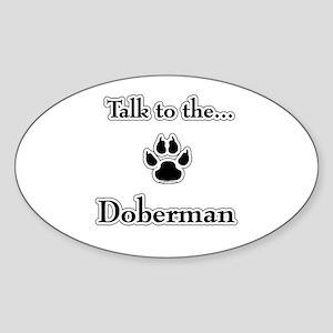 Doberman Talk Oval Sticker
