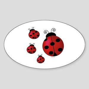 Four ladybugs Oval Sticker