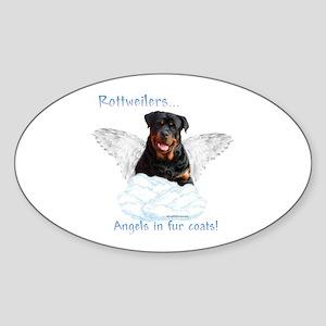 Rottie Angel Oval Sticker