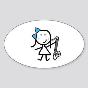 Girl & Bass Clarinet Sticker (Oval)
