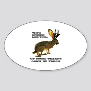 Texas Jackalope Oval Sticker