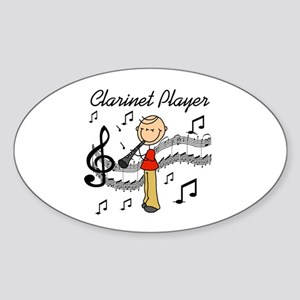 Clarinet Player Oval Sticker