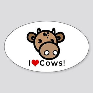 I Love Cows Oval Sticker