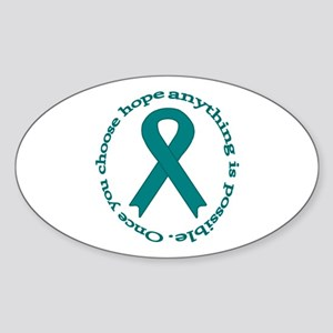 Teal Hope Oval Sticker