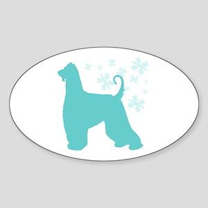 Afghan Hound Snowflake Oval Sticker