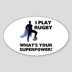 Rugby Superhero Oval Sticker