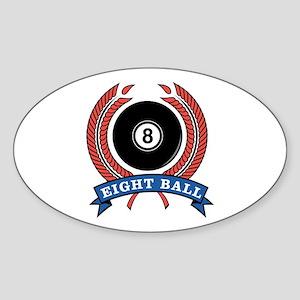 Eight Ball Red Emblem Oval Sticker
