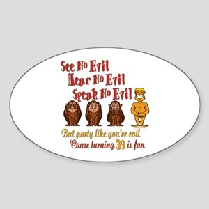 Party 39th Oval Sticker