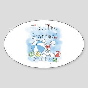 Grandma Baby Boy Oval Sticker