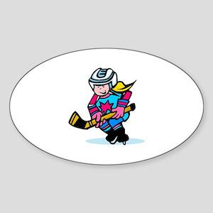 Blonde Hockey Girl Oval Sticker