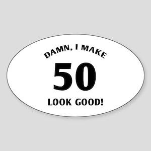 50 Yr Old Gag Gift Sticker (Oval)