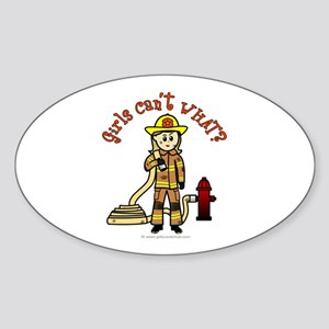 Blonde Firefighter Girl Sticker (Oval)