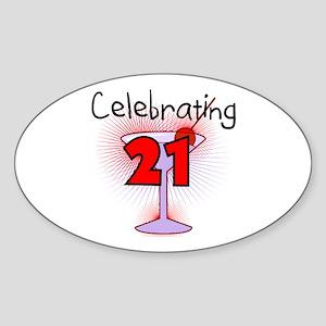 Cocktail Celebrating 21 Oval Sticker