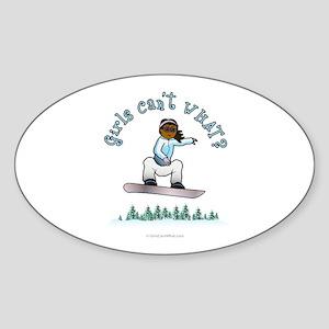 Dark Snowboarder Oval Sticker