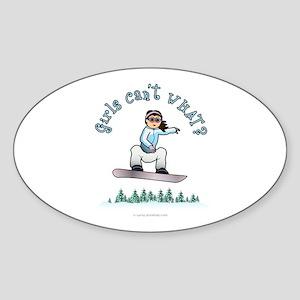 Light Snowboarding Oval Sticker