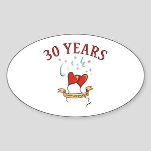 30th Festive Hearts Oval Sticker