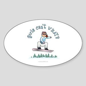 Red Snowboarding Oval Sticker