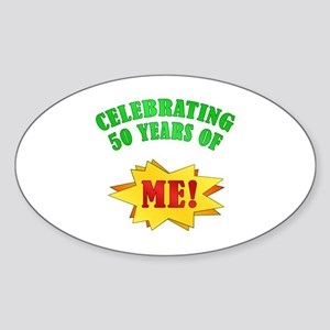 Funny Attitude 50th Birthday Oval Sticker