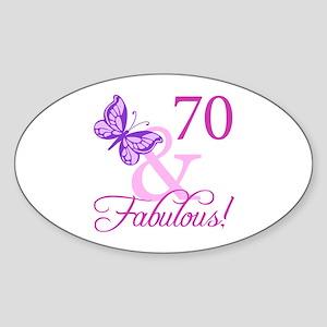 70 & Fabulous (Plumb) Sticker (Oval)