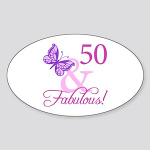 50 & Fabulous (Plumb) Sticker (Oval)