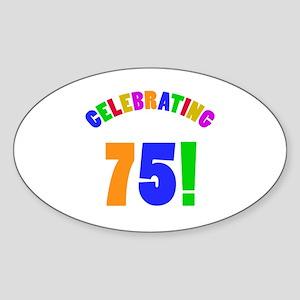 Rainbow 75th Birthday Party Sticker (Oval)
