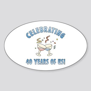 40th Anniversary Party Sticker (Oval)
