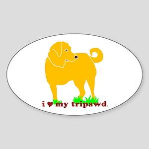 Golden Tripawd Love Sticker (Oval)