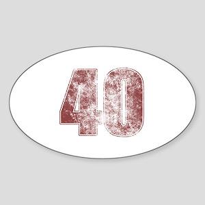 40th Birthday Red Grunge Sticker (Oval)