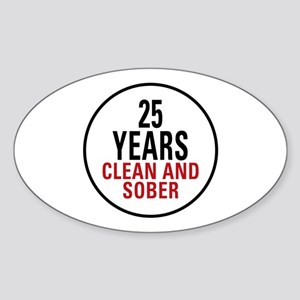 25 Years Clean and Sober Sticker (Oval)