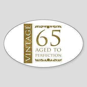 Fancy Vintage 65th Birthday Sticker (Oval)