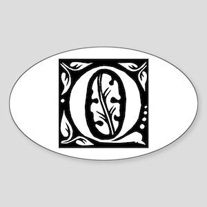 Art Nouveau Initial Q Oval Sticker