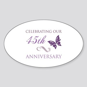 45th Wedding Aniversary (Butterfly) Sticker (Oval)