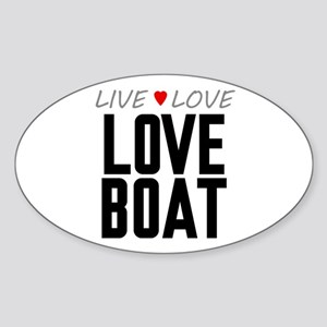 Live Love Love Boat Oval Sticker