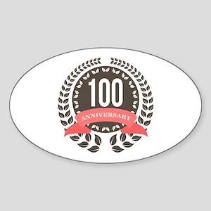 100 Years Anniversary Laurel Badge Sticker (Oval)