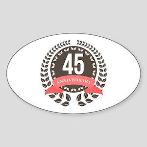 45Years Anniversary Laurel Badge Sticker (Oval)