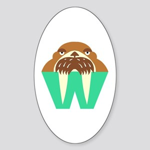 W is for Walrus Oval Sticker