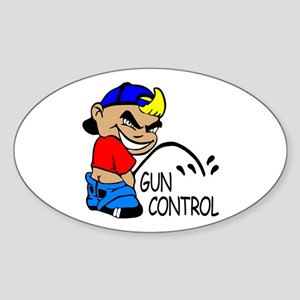 P On Gun Control Oval Sticker