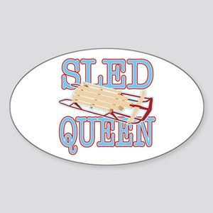 Sled Queen Oval Sticker