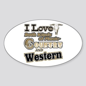 Love Both Country AND Western Music Oval Sticker