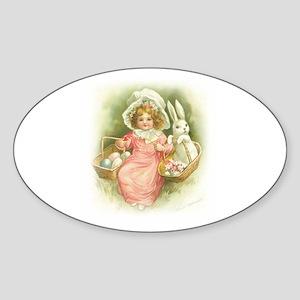 """Cute Easter Bunny"" Oval Sticker"