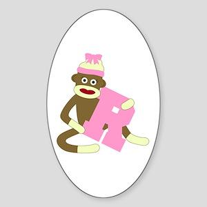 Sock Monkey Monogram Girl R Sticker (Oval)