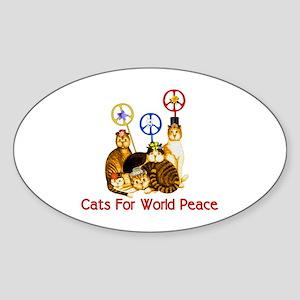 World Peace Cats Oval Sticker