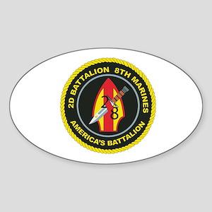 2nd Battalion - 8th Marines with Text Sticker (Ova