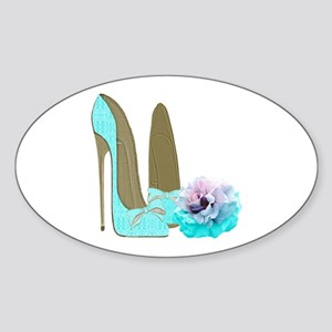 Turquoise Lace Stilettos and Rose Art Sticker
