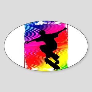 Rainbow Grunge Skateboarder Sticker (Oval)