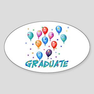 Graduation Balloons Oval Sticker