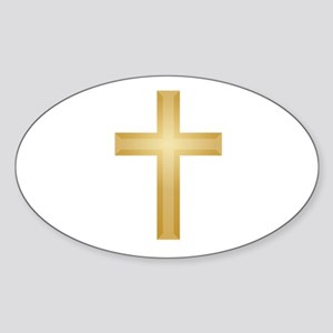 Gold Cross/Christian Sticker (Oval)