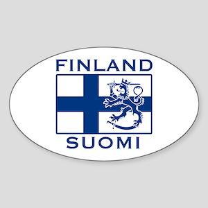 Finland Suomi Flag Oval Sticker