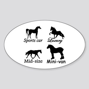 Horse Cars Oval Sticker