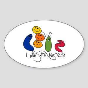 Play with Bacteria Oval Sticker